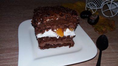 Photo of Prajitura cu crema de ciocolata si compot de piersici